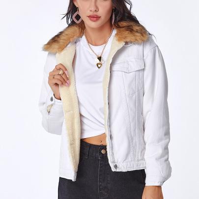 Winter Fur Collar Plus Velvet Loose Warm Short Denim Cotton Jacket  NSSY9110