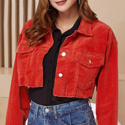 Red Loose Short Denim Jacket   NSSY9131