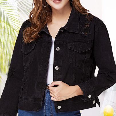 Black Casual Slim Short Cowboy Jacket NSSY9483