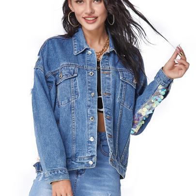 Plus Size Sequin Denim Jacket   NSSY9488