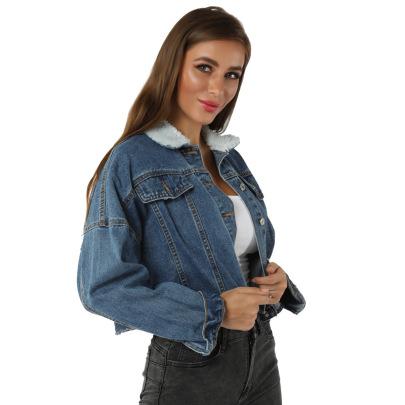 Plus Fleece Collar Denim Jacket  NSSY9490