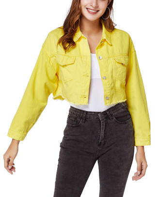 Yellow Loose Short Casual All-match Denim Jacket NSSY9453
