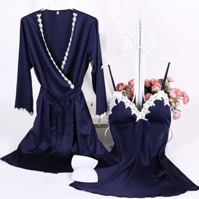 New Cotton Edge Silk Belt Chest Pad Sling Nightdress  NSMR12737