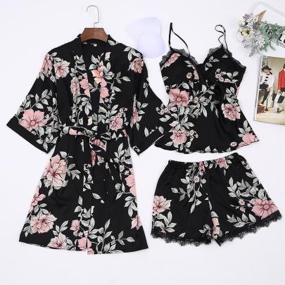 New Floral Fabric Simulation Silk Pajamas NSMR12748