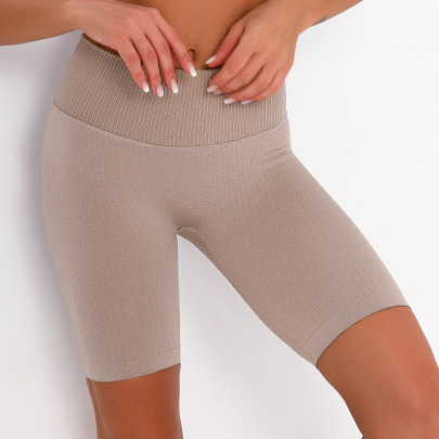 Seamless Striped Quick-drying Sports Tights Stretch Running Fitness Yoga Shorts NSNS14025