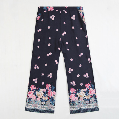 Autumn New Stretch Waist Printing Wide-leg Loose Casual Pants  NSJR19759