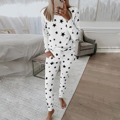 Star Print Long-sleeved Casual Pajamas NSZH20588