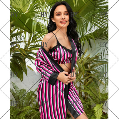 Color Vertical Stripes Summer Thin Sexy Fashionable Sexy Pajamas NSYO22082