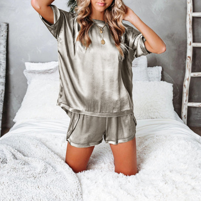 Spring New Solid Color Silk Pajamas NSZH23024