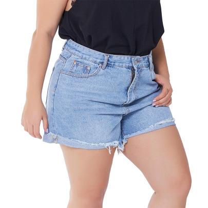 Large Size Curled Up Denim Shorts  NSSY17685