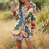 hot selling printed bandage ethnic women's shirt skirt NSDF1493