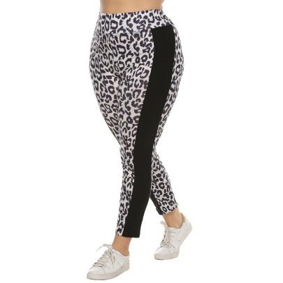 Plus Size Leopard Print Stitching Casual Leggings  NSOY28436