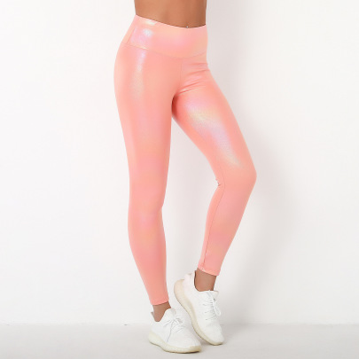 Peach  Tight-fitting Hip Hip Fitness Pants   NSNS32678