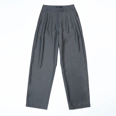 High Waist Solid Color Pleated Pants NSHS33468