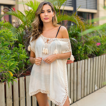 New V-neck Straps Knitted Slit Beach Sun Protection Clothing  NSOY26815