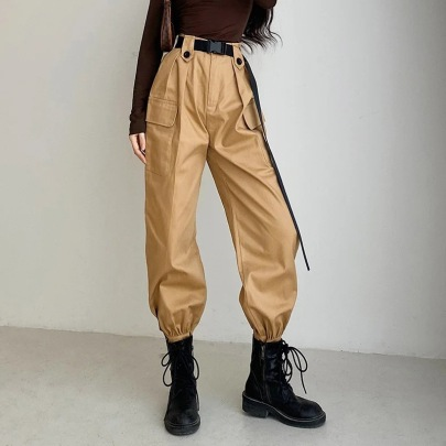Waist Belt Wide Overalls Style Pants NSHS35394