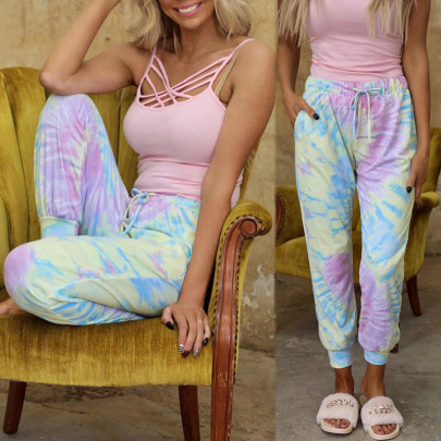Tie-dye Printing Loose-fitting Lace-up Casual Pants NSZH38523