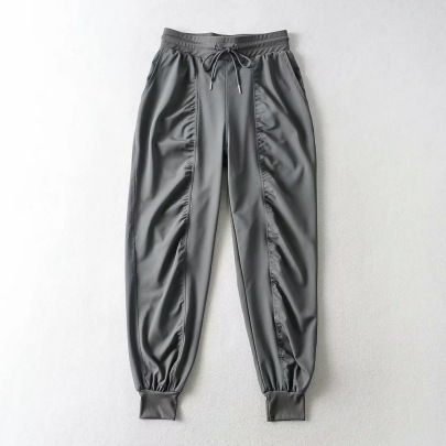 Elastic Waist Tie-up Folds Casual Sports Trousers NSHS42531