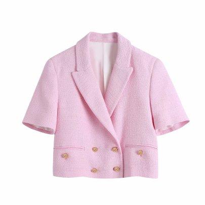 Fashion Buttoned Texture Short Blazer NSAM42987