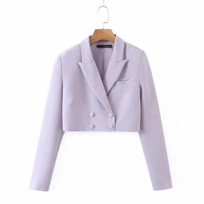 Solid Color Lapel Short Jacket NSHS43541
