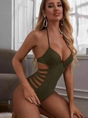Sexy Tie-back One-piece Bikini  NSHL43996