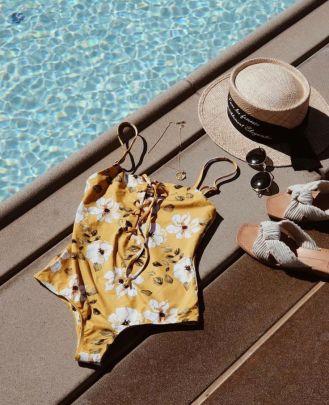 Printing Slim Lace-up One-piece Swimwear NSHL44028