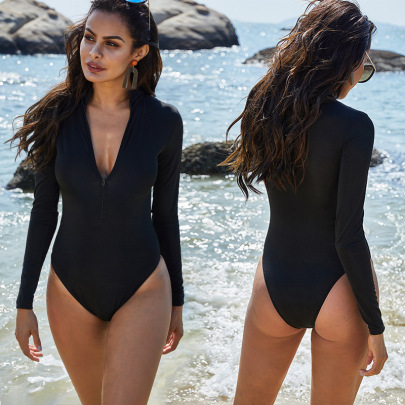 Long-sleeved Zipper Triangle One-piece Swimsuit NSLM44334