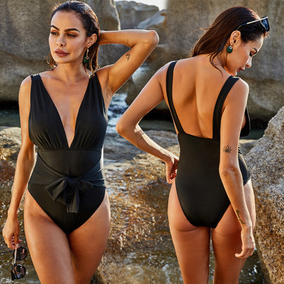 Sexy Deep V Sling One-Piece Swimsuit  NSLM44338