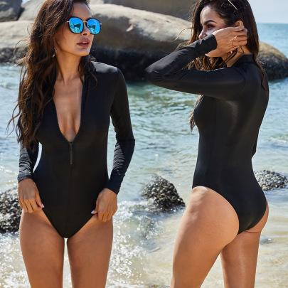 Zipper Sports Long-sleeved Triangle One-piece Swimsuit   NSLM44339
