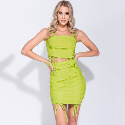 Solid Color Folds Cami Top & Skirt Set NSYBN44441