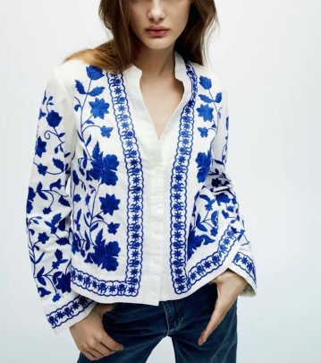 Spring Blue And White Flower Embroidery Jacket NSAM44624