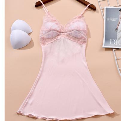 Lace Trim Sheer Nightdress NSMR45610
