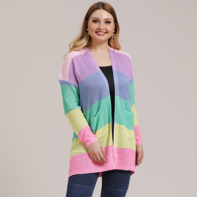 Plus Size Striped Color Front  Pocket Cardigan NSOY45929