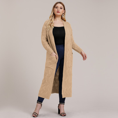 Plus Size Solid Color Knit Cardigan NSOY45935