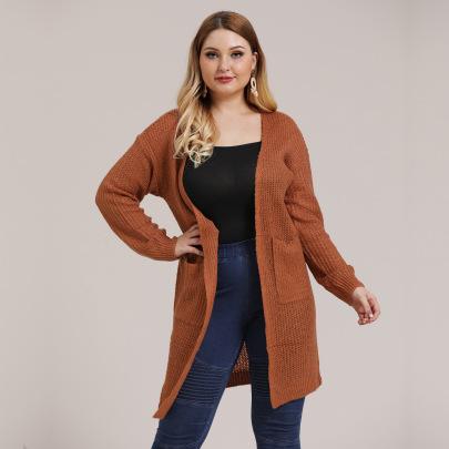 Plus Size Fashion Solid Knit Cardigan NSOY45977