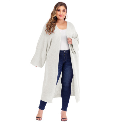 Plus Size Solid Color Knit Cardigan NSOY46011