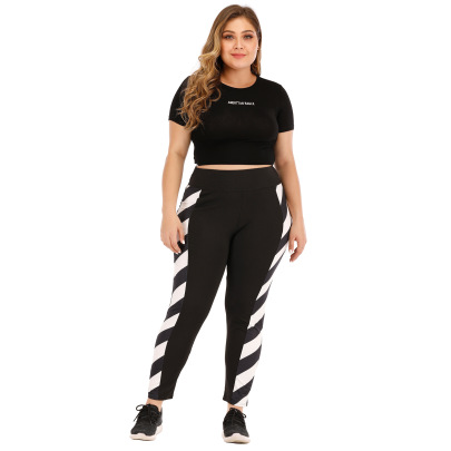 Plus Size Striped Color Sport Pants NSOY46066