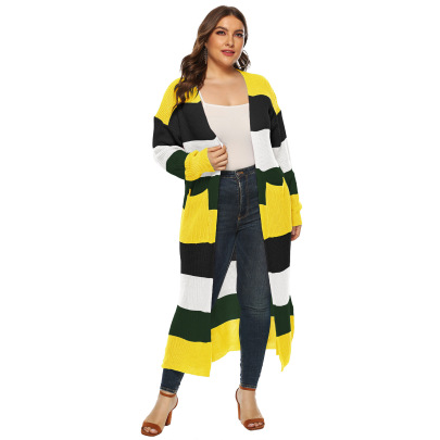 Plus Size Stitching Color Knit Cardigan NSOY46122