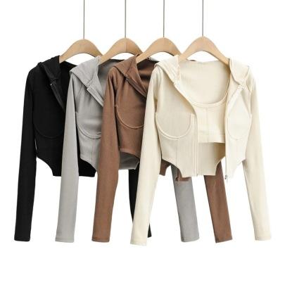 Elastic Camisole & Irregular Zipper Jacket NSHS46908