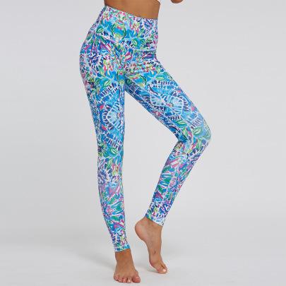 Printing High Waist Stretch Sports Yoga Pants NSNS47246