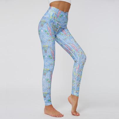 Printing High-waist Stretch Sports Yoga Pants NSNS47320