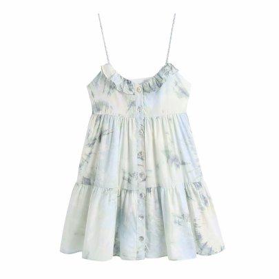 Tie-dye Single-breasted Suspender Dress  NSAM48695