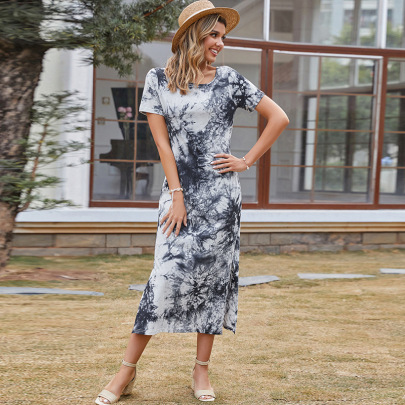 Off-the-shoulder Ink Printing Mid-length Dress  NSDF49022