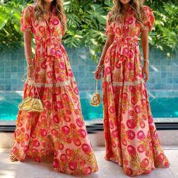 New Short-sleeved Bohemian Printed Dress NSYF49203