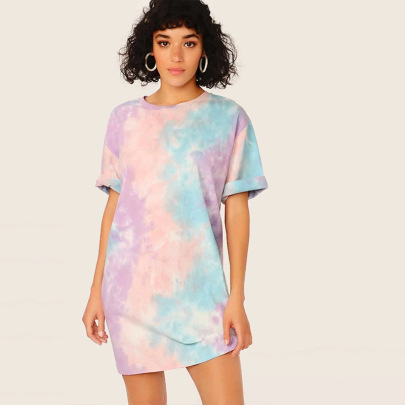 Tie-dye Round Neck Hort-sleeved Casual Dress NSDF49245