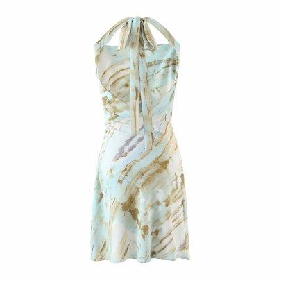 Retro Fashion Print Halter Dress  NSAM50481