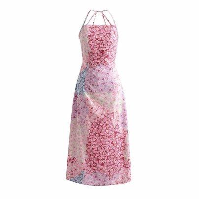 Spring Color Matching Halter Suspender Skirt NSAM50487