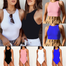 Solid Color Sleeveless Round Neck Top NSYKD50641