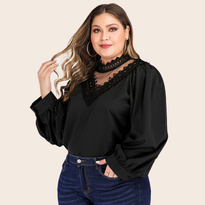 Plus Size Petal Solid Color Stitching Lace Long-sleeved Top NSJR50648