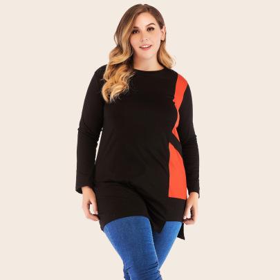 Plus Size Stitching Irregular Long-sleeved T-shirt NSJR50655